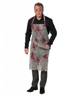 Blutige Halloween Schlächter Metzger Schürze weiss-rot