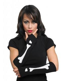 Armstulpen Skelett für Damen Halloween schwarz-weiss