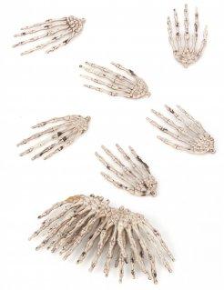 Skelett Hände Halloween Deko 12er-Set beige-braun 7x4x0,5cm