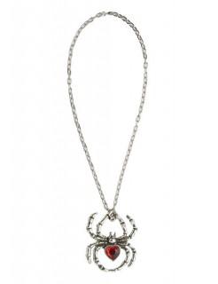 Gothic Hexe Halskette Spinne silber-rot