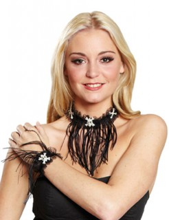 Hexen-Halskette und Armband Set mit Totenköpfen schwarz-weiss