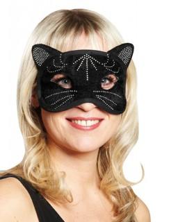 Katzen-Augenmaske mit Strasssteinen Halloween-Maske schwarz-silber
