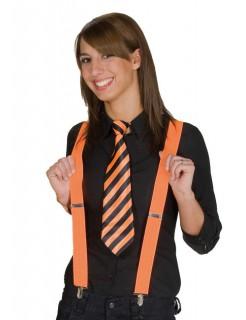 Krawatte gestreift schwarz-orange