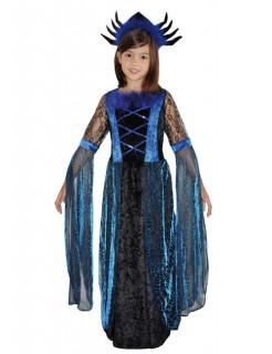 Vampirin Hexe Gothic Halloween Kinderkostüm blau-schwarz