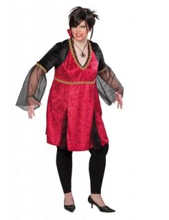 Vampirin Gothic Damenkostüm rot-gold-schwarz