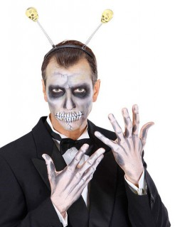 Totenkopf-Haarreif für Halloween schwarz-weiss