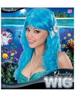 Meerjungfrau-Perücke mit Muscheln und Perlen türkis