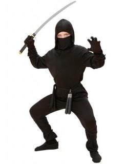 Dunkles Ninja-Kostüm für Kinder schwarz