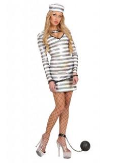 Glitzerndes Gefangenenkostüm für Damen weiss-silber