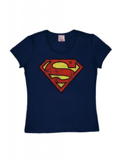 Superman™-Shirt Logo Girlie Shirt blau-rot-gelb
