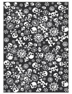 Halloween Pappgeschirr Totenköpfe Tischdecke schwarz-weiss 130x180cm