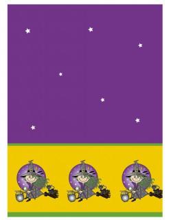 Hexen-Tischdecke Halloween-Deko violett-gelb 130x180cm