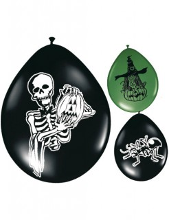 Grusel Luftballons Halloween Party-Deko 8 Stück schwarz-grün 27,5cm