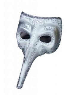 Venezianische Maske Theatermaske Schnabelmaske silber