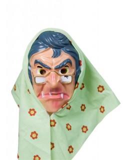 Hexen-Maske mit Kopftuch Halloweenmaske haut-grün