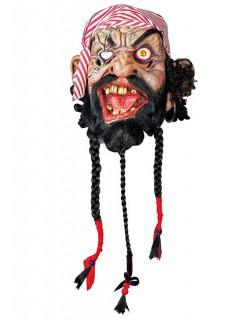 Halloween Zombiepirat-Maske hautfarben-rot-schwarz