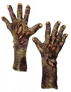 Zombieklauen Handschuhe Halloween-Accessoire grün