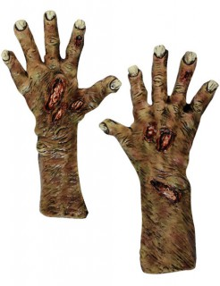 Zombieklauen Halloween-Handschuhe braun-rot-grau