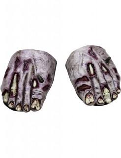 Schuhüberzieher Leichenfüße für Halloween grau-rot