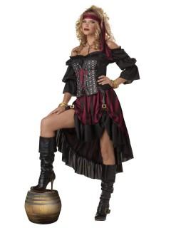 Luxus-Piratenkostüm für Damen Halloweenkostüm schwarz-rot