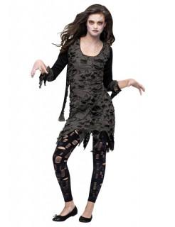 Zombie Halloween Damenkostüm schwarz-khaki