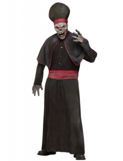 Zombie Priester Halloween Kostüm schwarz-rot
