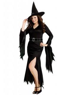 Gothic Hexe Halloween Damenkostüm Übergrösse schwarz