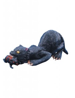 Horror Katze mit Ratte Halloween-Deko-Figur schwarz 76cm