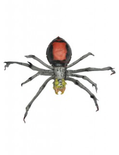 Riesenspinne Halloween Deko grau-rot 45cm