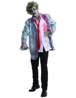 Zombie Halloween-Kostüm weiss-rot-hellgrau