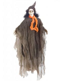 Erhängtes Totenkopf-Skelett Halloween-Dekofigur grau-grün 90cm
