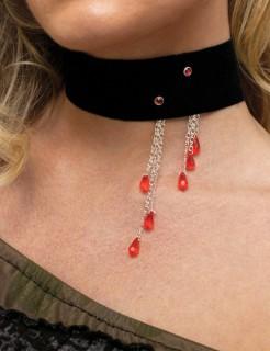 Vampir-Biss Halsband mit Bluttropfen schwarz-rot