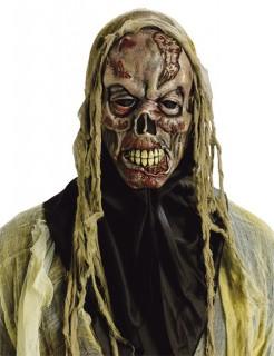 Skelett Zombie Halloween Maske grün-rot