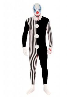 Morphsuit Killer-Clown Halloween schwarz-weiss