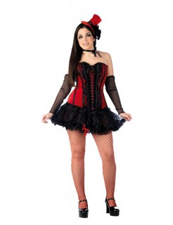Burlesque Corsage für Showgirls mit Zylinder rot-schwarz