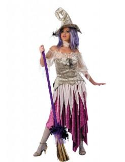 Hexen-Damenkostüm Deluxe lila-silber