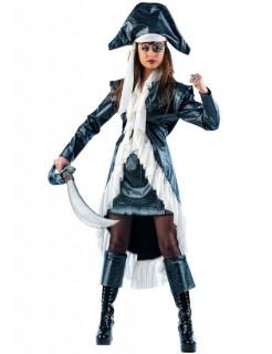 Piraten-Kapitänin-Kostüm für Damen schwarz-weiss