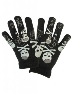 Skelett-Handschuhe Halloween-Accessoire schwarz-weiss