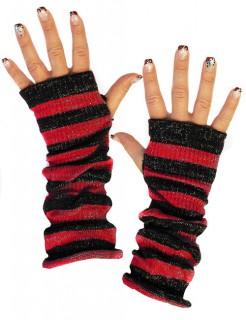 Winter-Handschuhe gestreift schwarz-rot