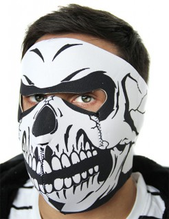 Motorradmaske Totenkopf weiss-schwarz