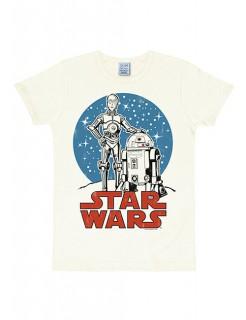 Star Wars T-Shirt Droids Slim Fit Lizenzware weiss-blau-rot