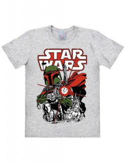 Star Wars T-Shirt Boba Fett Easy Fit Lizenzware grau-bunt