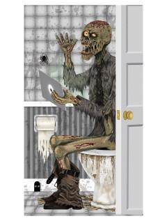 Tür-Deko Zombie im Badezimmer bunt 76x152cm