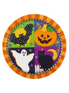 Halloween Kinderparty Pappteller 8 Stück bunt 27 cm