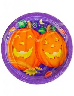 Halloween Kinderparty Pappgeschirr Lustige Kürbisse 8 Teller bunt 23cm