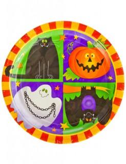 Halloween-Partyteller für Kinder 10 Pappteller bunt 23cm