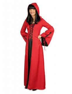 Gothic-Damenkostüm Mittelalterkleid rot-schwarz