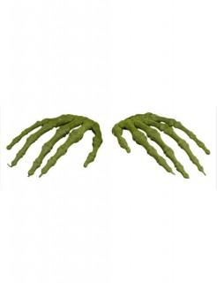 Moosige Skelett-Hände Halloween-Deko 2 Stück grün 13x8cm