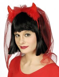 Teufelshörner-Haarband für Damen rot