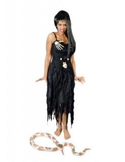 Gothic-Kleid mit Skeletthänden Halloween-Damenkostüm schwarz